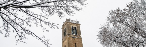 A fresh coat of snow covers trees and the Carillon Tower at the University of Wisconsin-Madison during winter on Jan. 25, 2017. (Photo by Bryce Richter / UW-Madison)