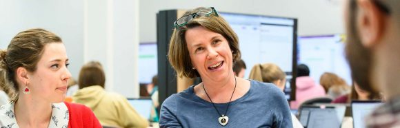 Kim Lord-Plummer, senior lecturer in the School of Veterinary Medicine at the University of Wisconsin-Madison, talks with students during a neurological review and case study exercise held in the RENK active learning classroom in the Veterinary Medicine Building on April 2, 2019. Lord-Plummer is a recipient of a 2019 Academic Staff Excellence Award.